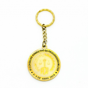 3D keychain in golden color and golden attachment