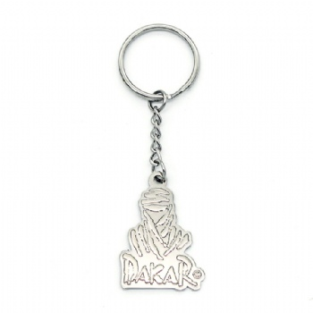 3D Metal keychain with silver plating and four-links keyring