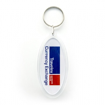 Acrylic keychain for travelex in oval shape