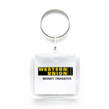 Acrylic keychain for western union with single keyring