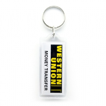 acrylic keychain with printing paper card inside for western union