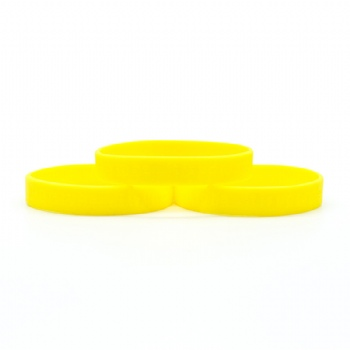 Yellow silicon wristband debossed  in adult size