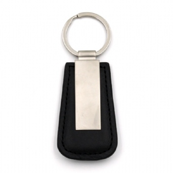 Custom Leather Keychain with jointed by a metal paster