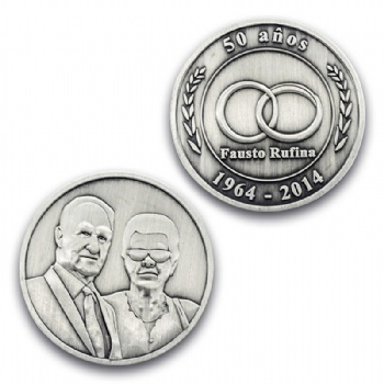 3D portrait badge on both side with antique  silver plating