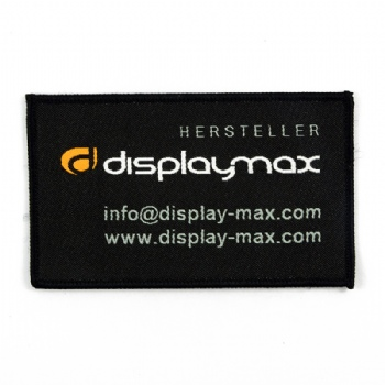 custom black embroidery patch for displymax company