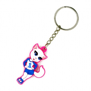 Cat Shaped Soft PVC Keyring 2D cartoon custom PVC Keyring