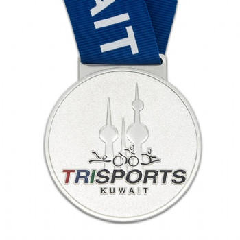 Supply costom trisports aluminium medal for Kuwait