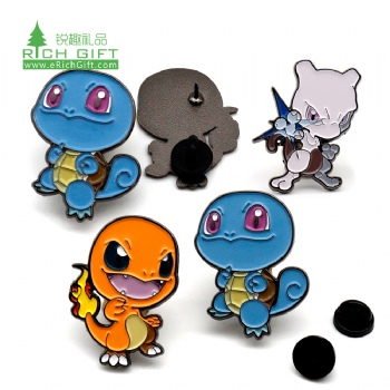 Wholesale cheap metal black nickel plated anime badge custom soft enamel cute cartoon turtle dragon lapel pin in stock