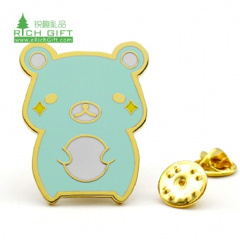 High quality bulk cheap custom shaped metal cartoon badge hard enamel cute animal bear lapel pin