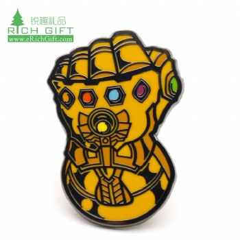 Wholesale custom shaped metal hard enamel marvel movie thanos Infinity gauntlet lapel pin badge for souvenir