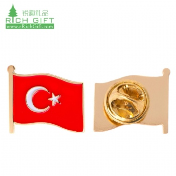 Free sample cheap custom metal stamped soft enamel souvenir lapel pin gold plating flag turkey badge with butterfly clutches