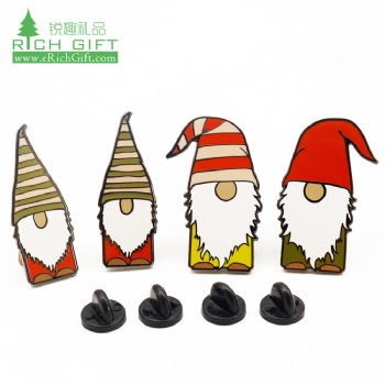 2019 2020 design personalised custom hat shaped metal logo hard enamel santa claus christmas badge pin for souvenir