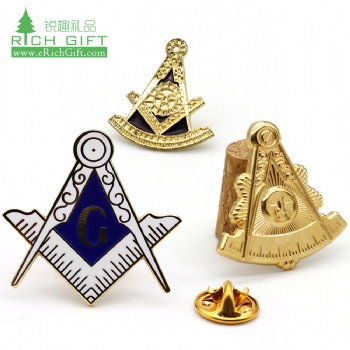 Wholesale china metal zinc alloy freemason badge enamel personalized custom masonic lapel pin for souvenir