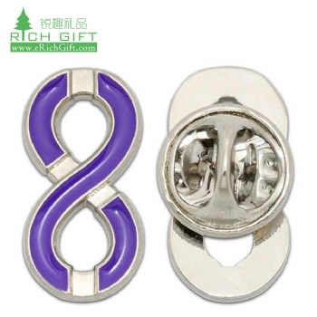 Free sample cheap custom metal silver plated enamel epoxy resin number 8 lapel pin for sale with butterfly clutch