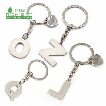Free sample cheap in bulk custom blank metal engraved stainless steel mini letter alphabet keychain promotional with emoji