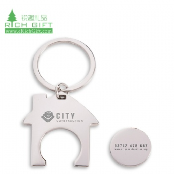 Wholesale house shaped plastic canadian trolley coin metal mini insert detachable custom challenge shopping cart coin keychain