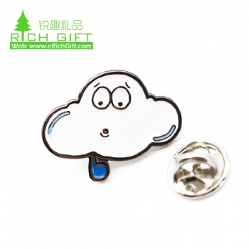 Unique design metal soft enamel cartoon badge custom clouds shaped lapel pin with butterfly clutch