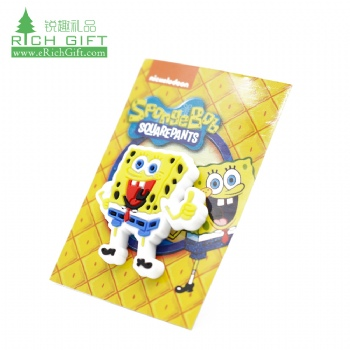 Wholesale cheap custom eco friendly silicone rubber injected kids souvenir cartoon spongebob lapel pin with paper card