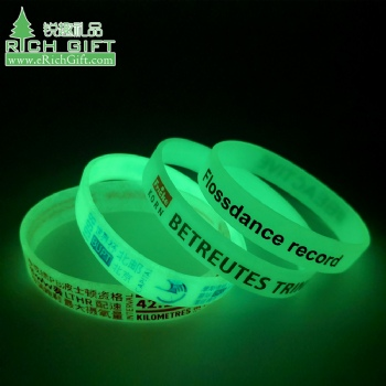 Wholesale bulk cheap custom logo printing rubber bracelet silicone glow in the dark wristbands no minimum