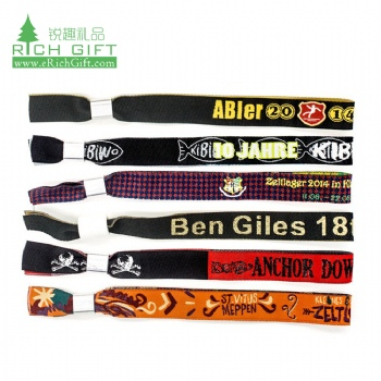 Free sample small quantity fabric jacquard event bracelets woven custom embroidered wristbands no minimum