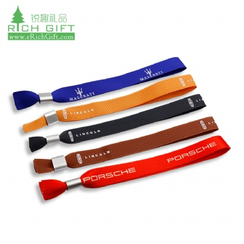 Free sample bulk cheap fabric silk screen printed promotional custom polyester wristbands with metal lock