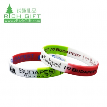 Manufacturer promotional gift debossed eco-friendly double sided silicon rubber bracelet custom silicone wristband no minimum