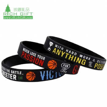 High quality custom debossed logo color filled cool basketball silicone wristband for promotion