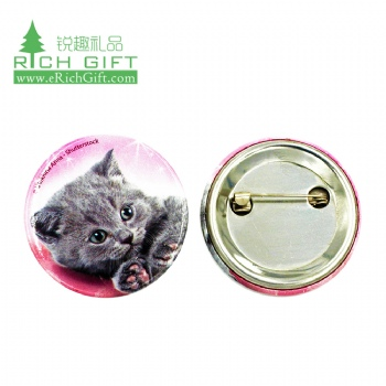 Wholesale maker blank metal printed heart square round tin tinplate cat custom cheap pin button badge 58mm