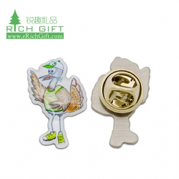 Wholesale cheap custom metal stainless steel printing cartoon epoxy coated lapel pin with butterfly clutch
