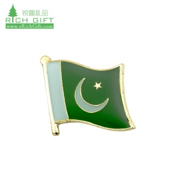 Made in china cheap custom metal iron stamped enamel epoxy coated country flag pakistan lapel pin for sale