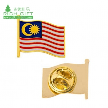 Free sample custom metal soft enamel friendship double national country flag malaysia lapel pin no minimum