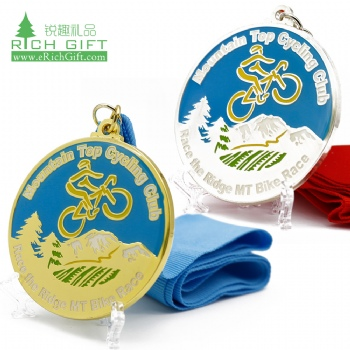 Free sample custom metal zinc alloy gold silver plated hard enamel sports race cycling medal no minimum