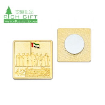Free sample metal stamping enamel epoxy flag logo falcon sheikh zayed lapel pin custom uae badge for national day