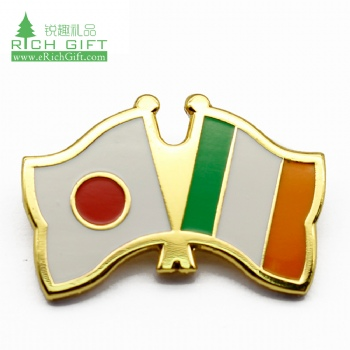 Free sample cheap custom metal gold plated soft enamel ireland badge country flag irish lapel pin