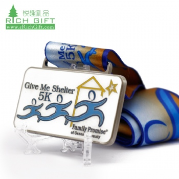 Manufacturers in china personalized custom rectangle shaped metal hard enamel epoxy running 5k medal for sale