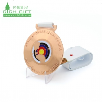 Personalized custom logo engraved metal zinc alloy enamel copper plated championship sports shooting archery medal