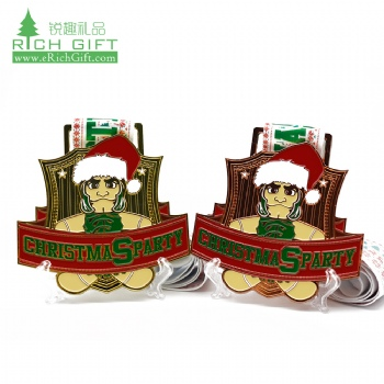 Free sample custom designs your own metal engraved soft enamel copper gold souvenir santa christmas medal with gift box