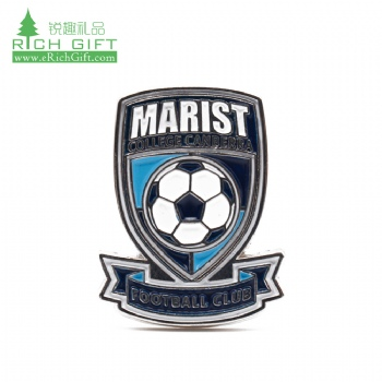 High quality cheap custom metal embossed 3d enamel soccer sport club team football enamel pin badge