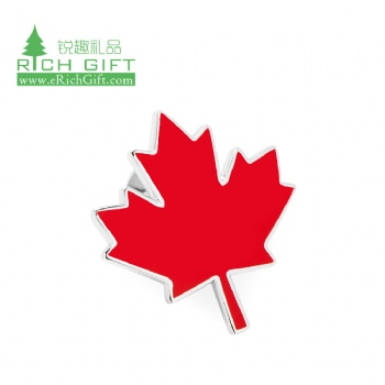 Wholesale bulk cheap custom shaped metal enamel silver plated canadian flag canada red maple leaf pin no minimum