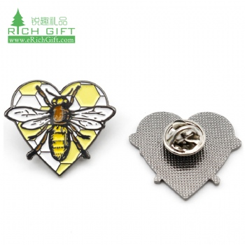 Free sample metal honey bee enamel brooch badge label pin custom shaped rhinestone gold heart lapel pin with clutch