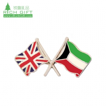 Wholesale bulk cheap custom metal enamel gold silver plated friendship double national country flag kuwait pin badge