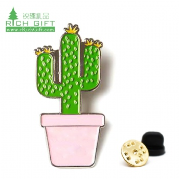 Wholesale bulk cheap custom metal novelty cartoon flower floral plant lapel pin in stock enamel cactus pin no minimum