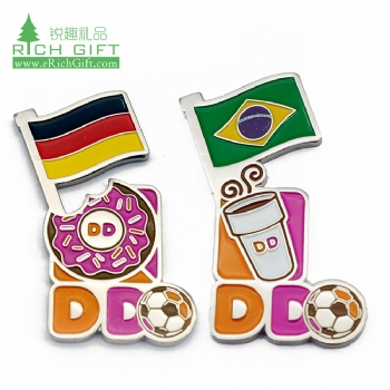 Unique design personalized custom metal soft enamel world cup cross friendship double country national flag pin badge