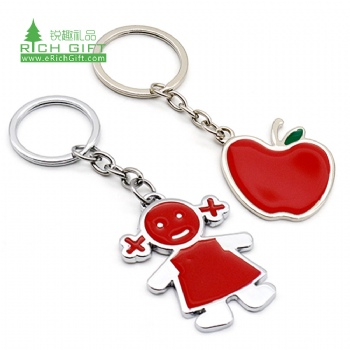 Hot sell cheap custom made metal stainless steel enamel souvenirs apple cute cartoon girl kids keychain with logo