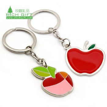 Pretty decoration metal enamel epoxy resin silver plated custom shaped souvenir fruit red apple keychains