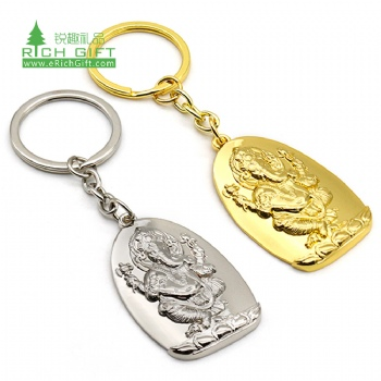 High quality metal brass embossed 3d christian gift custom gold silver buddha figure religious keychain