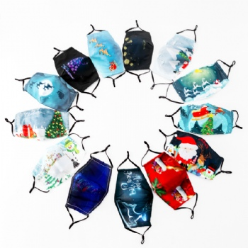 wholesale custom logo adjustable party mask printed led reusable silk sublimation cotton christmas face mask for kids