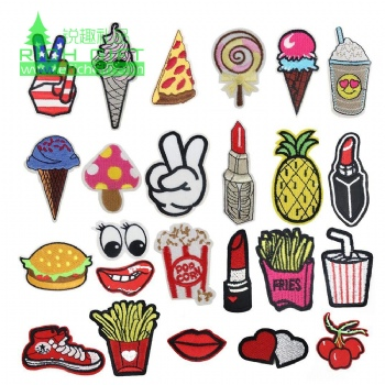 wholesale embroidery badges patch anime heat transfer iron on lipstick chenille custom embroidered patches for clothing