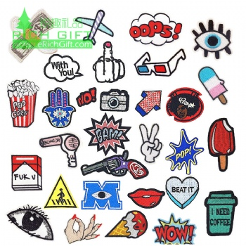no MOQ custom embroidery badge patches neck hand laser cut mini tiny lovely security embroidered patch with adhesive back