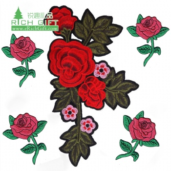 OEM Cheap Personalized Custom Logo Cool Fabric flower rose patch embroidery floral for Clothes